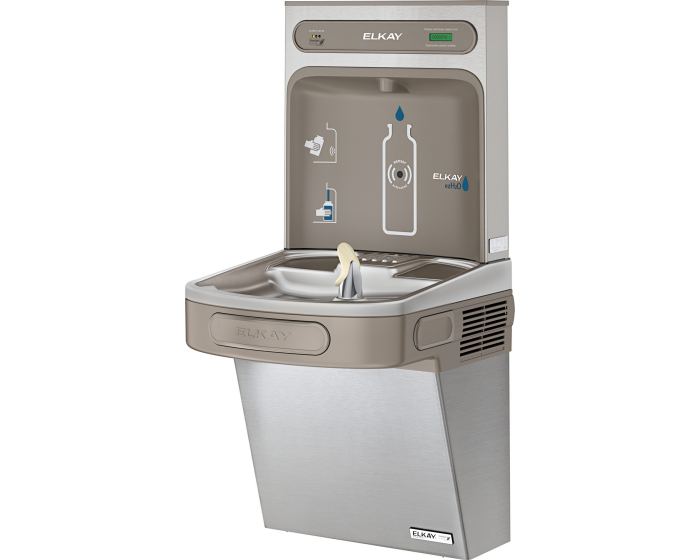 Elkay LZSG8WSSK |  Wall-mount Bottle Filling Station | Filtered, High-efficiency chiller, EZ-style fountain, Stainless Steel - BottleFillingStations.com