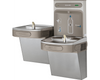 Elkay LZSTL8WSSK | Wall-mount Bi-level Bottle Filling Station | Filtered, Refrigerated, EZ-style fountain, Stainless Steel - BottleFillingStations.com