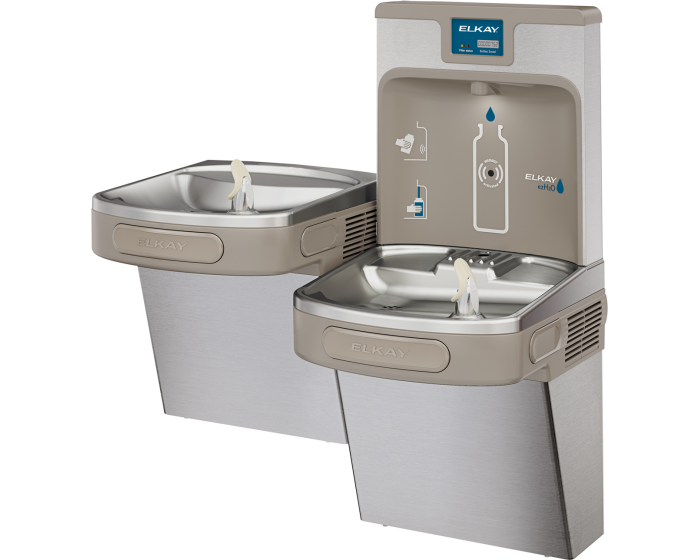 Elkay LZSTL8WSSP | Wall-mount Enhanced EZH2o Versatile Bi-level Bottle Filling Station | Filtered, Refrigerated, EZ-style fountains, Stainless Steel