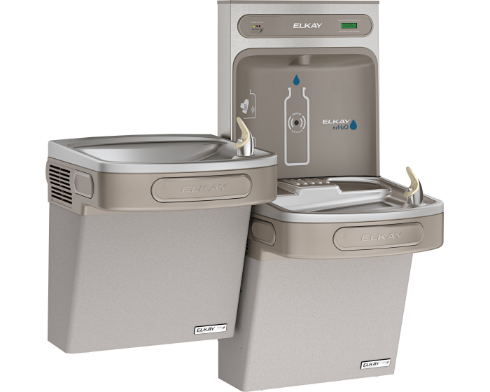 Elkay LZSTLG8WSLK | Wall-mount Versatile Bi-level Bottle Filling Station | Filtered, High-efficiency chiller, EZ-style fountains, Granite Gray - BottleFillingStations.com