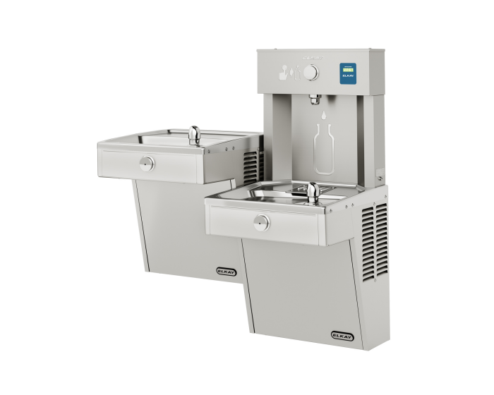 Elkay VRCTL8WSK | Wall-mount Bi-Level Bottle Filling Station | Filterless, Refrigerated, VRC-style Fountains, Fully Vandal-resistant, Stainless Steel - BottleFillingStations.com