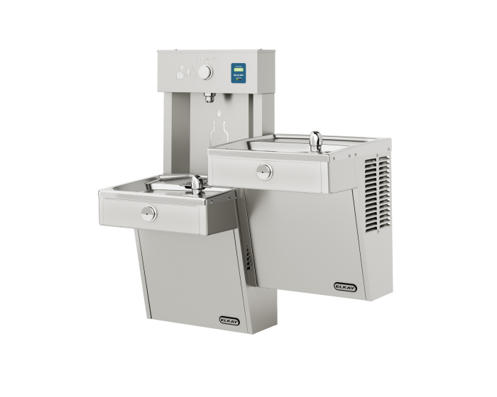 Elkay VRCTLRDDWSK | Wall-mount Bi-Level Reverse Bottle Filling Station | Filterless, Non-refrigerated, VRC-style Fountains, Fully Vandal-resistant, Stainless Steel - BottleFillingStations.com