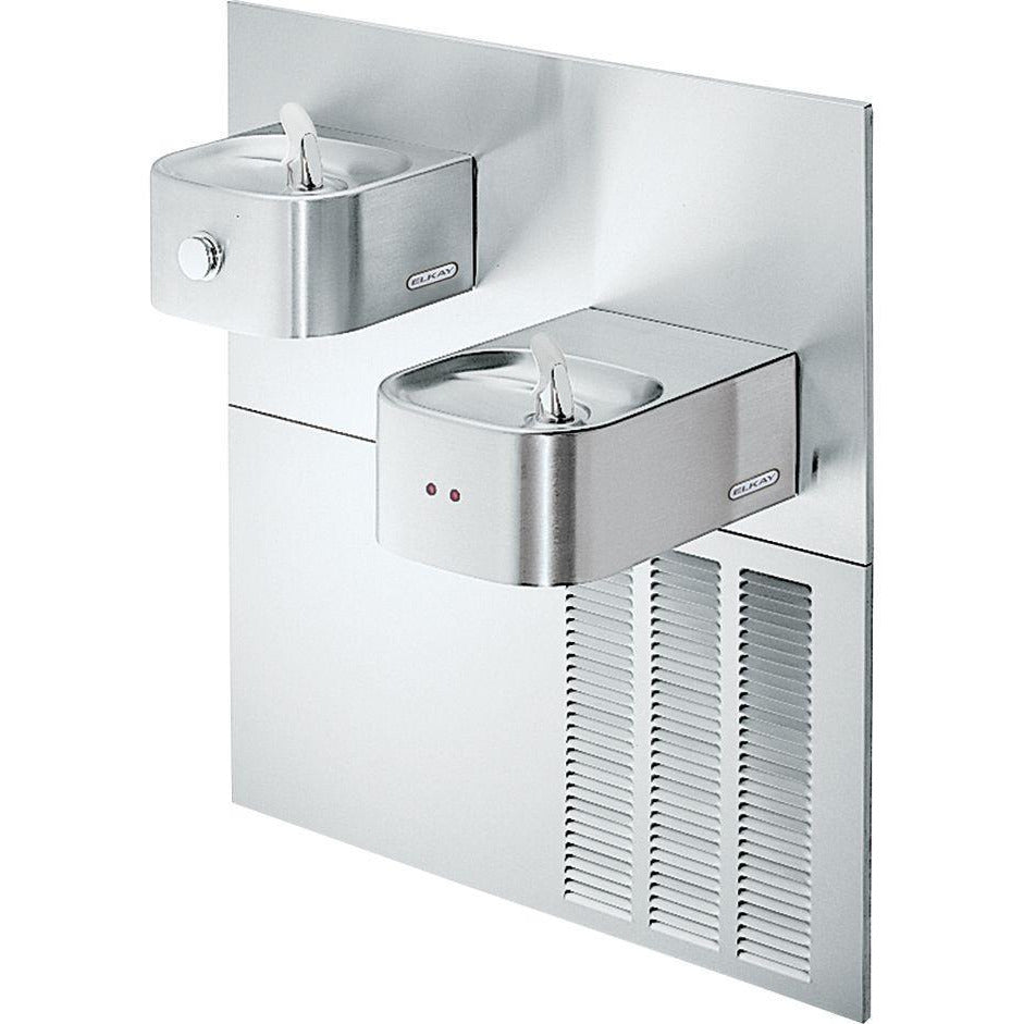 Elkay EROM28K | In-wall Bi-Level Soft-sides Drinking Fountain | Hands-free, Filterless, Refrigerated, Stainless Steel - BottleFillingStations.com