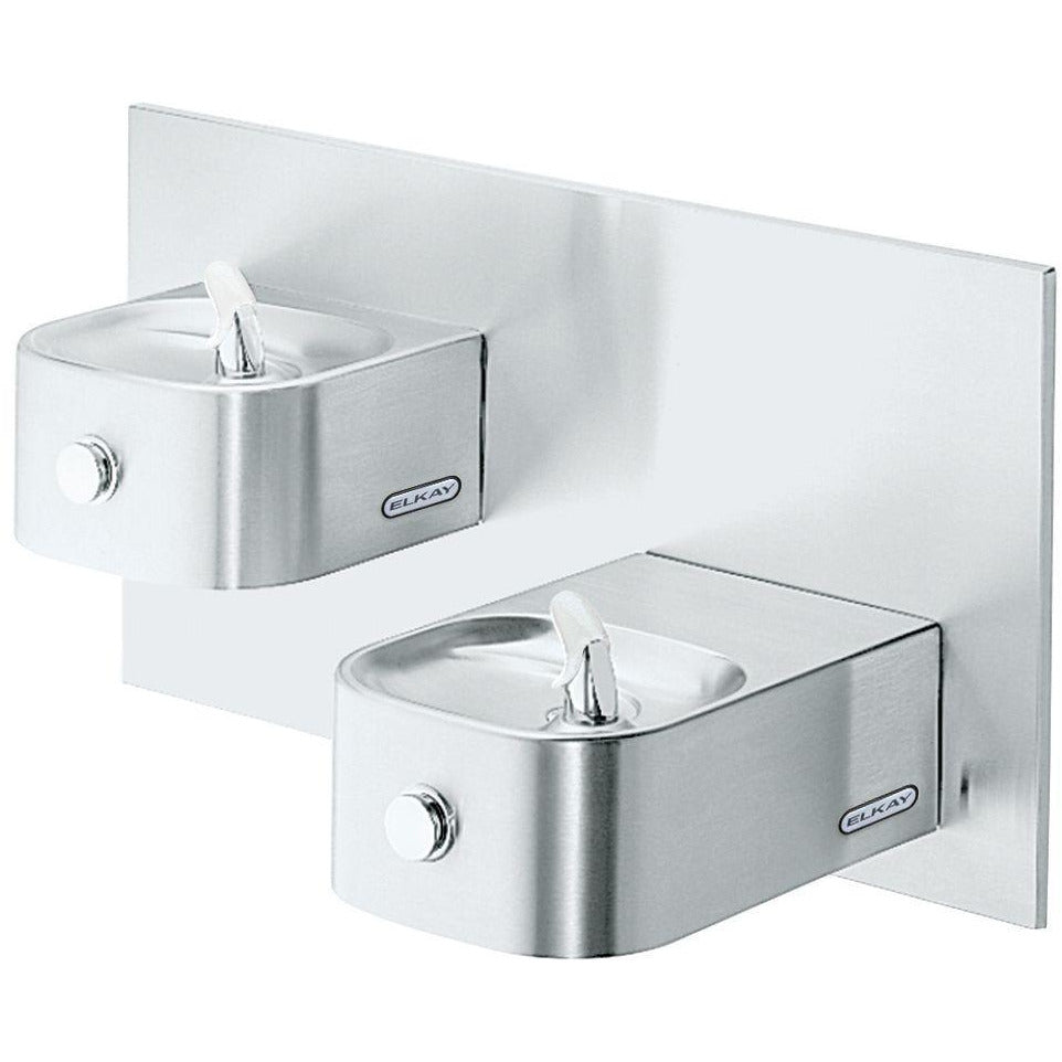 Elkay EDFP217FPK | In-wall Bi-Level Soft-sides Drinking Fountain | Filterless, Non-refrigerated, Freeze-resistant, Stainless Steel - BottleFillingStations.com