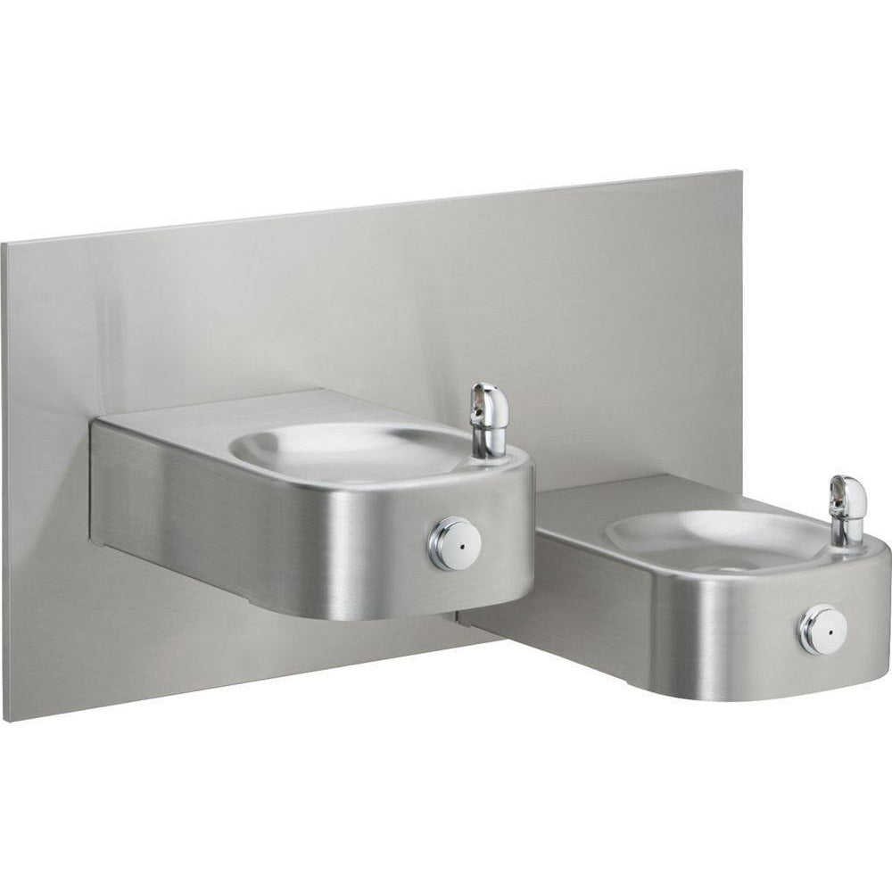 Elkay EHWM217RAC | In-wall Bi-Level Soft-sides Reverse Drinking Fountain | Filterless, Non-refrigerated, Fully Vandal-resistant, Stainless Steel - BottleFillingStations.com