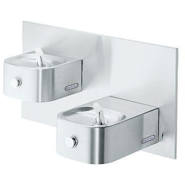 Elkay EDFP217C | In-wall Bi-level Soft-sides Drinking Fountain | Filterless, Non-refrigerated, Stainless Steel - BottleFillingStations.com
