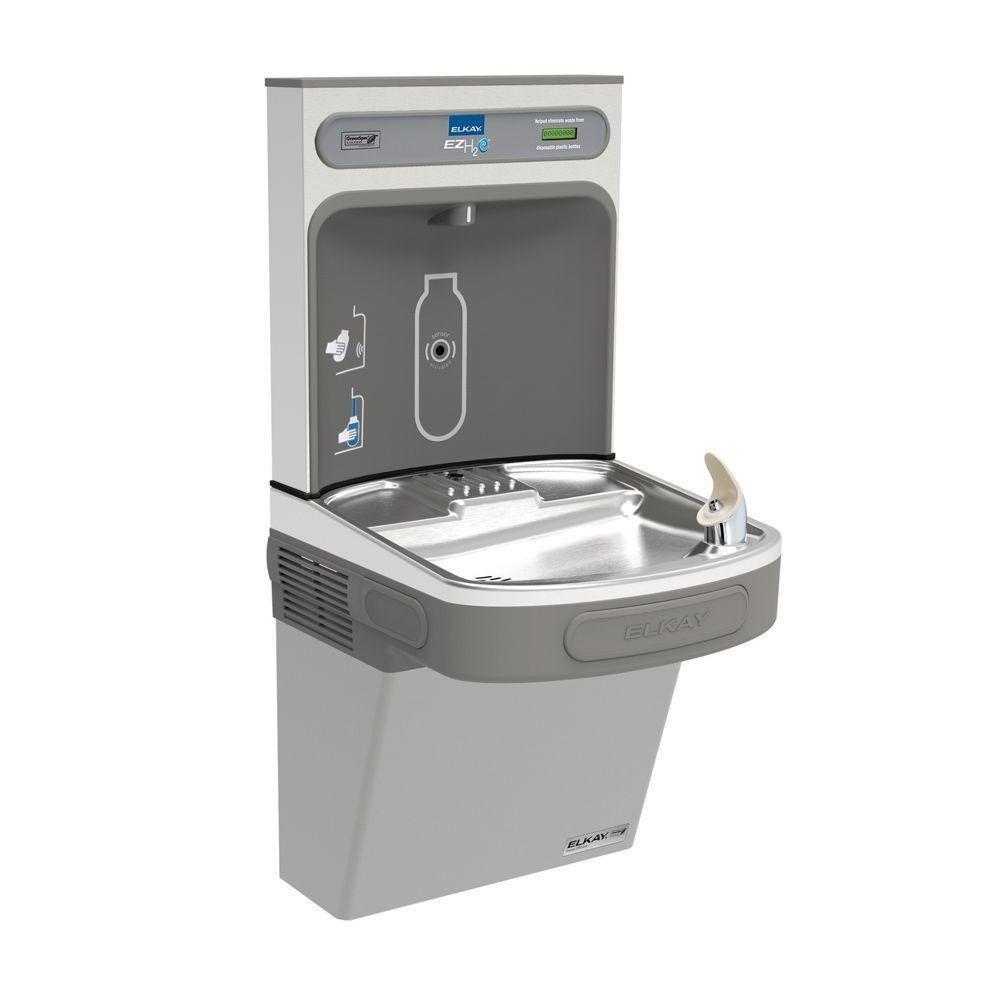 Elkay EZSG8WSLK | Wall-mount Bottle Filling Station | Filterless, High-efficiency chiller, EZ-style fountain, Granite Gray -