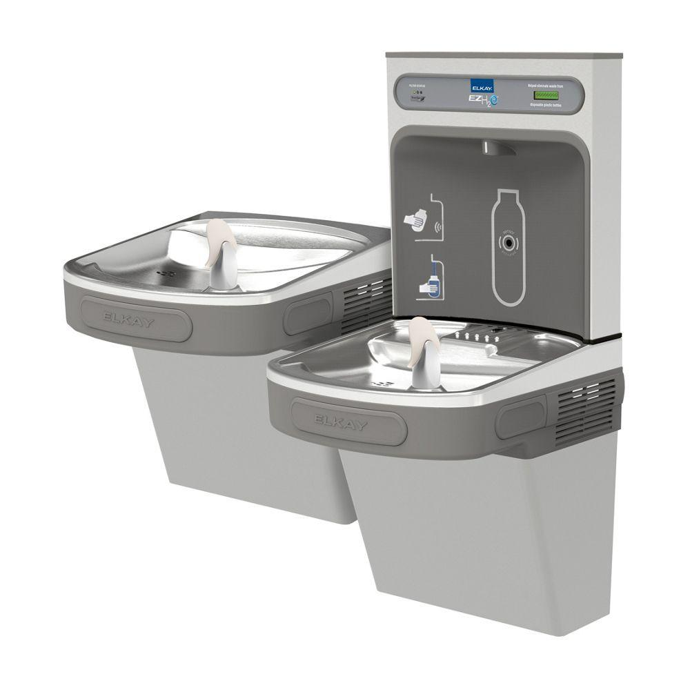 Elkay EZSTLG8WSLK | Wall-mount Versatile Bi-level Bottle Filling Station |  Filterless, High-efficiency chiller, EZ-style fountains, Granite Gray - BottleFillingStations.com
