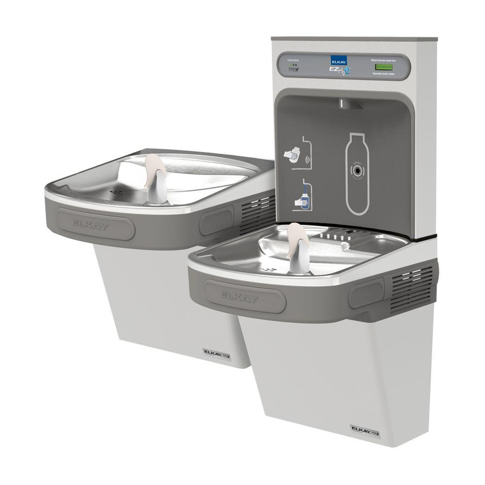 Elkay EZSTLG8WSSK | Wall-mount Versatile Bi-level Bottle Filling Station |  Filterless, High-efficiency chiller, EZ-style fountains, Stainless Steel - BottleFillingStations.com