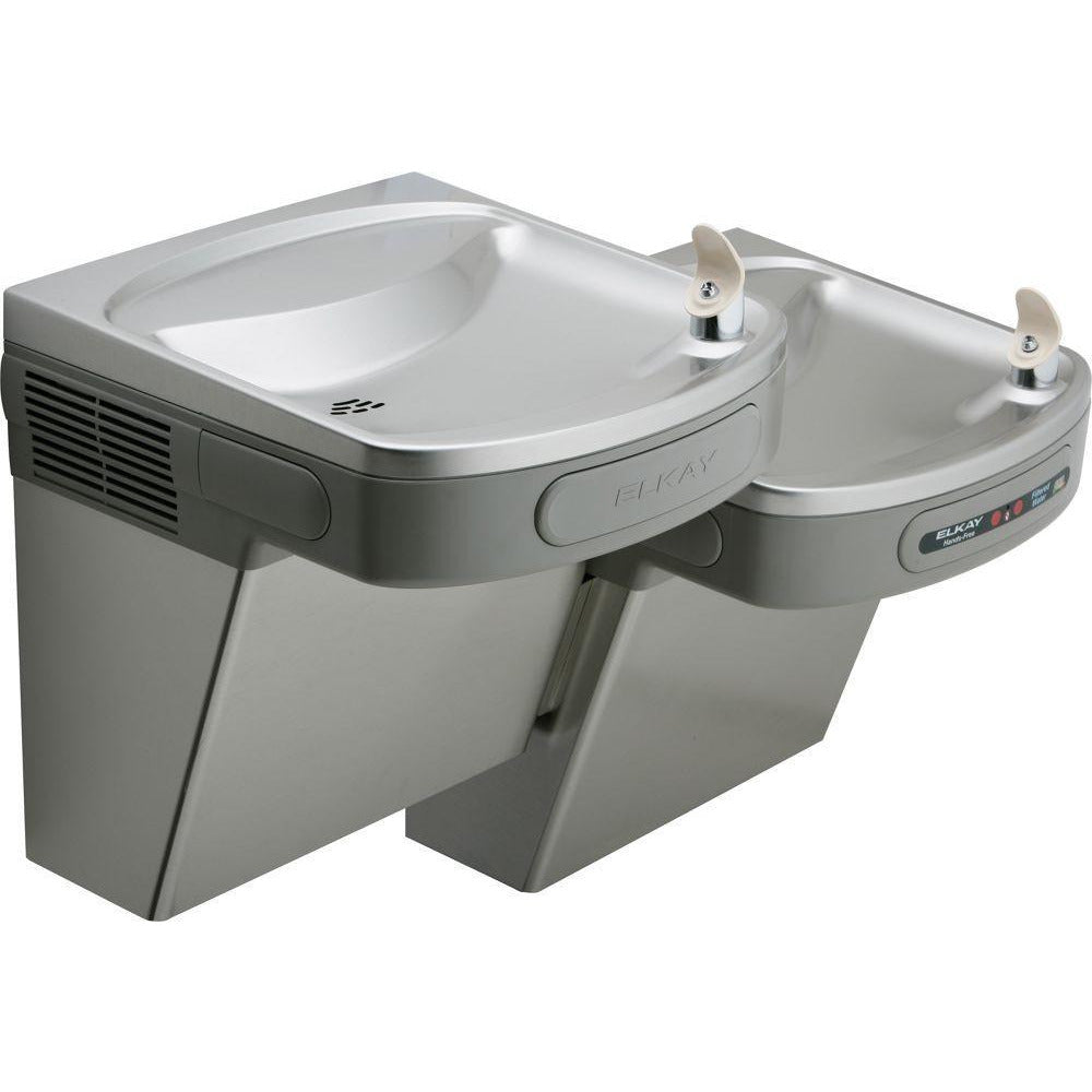 Elkay LZOSTL8LC | Wall-mount Versatile Bi-level EZ-style Drinking Fountain | Filtered, Refrigerated, Hands-free, Granite Gray - BottleFillingStations.com