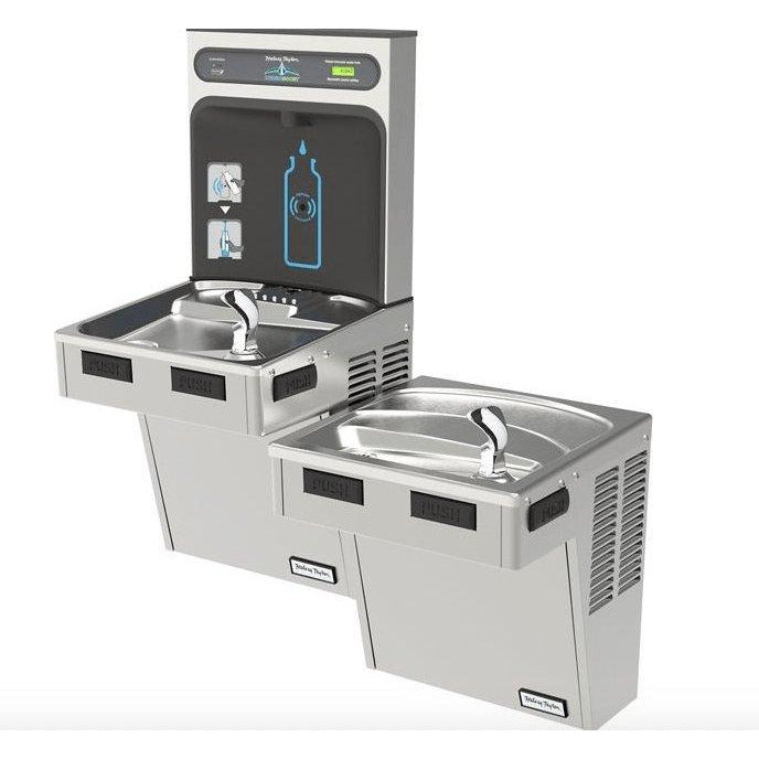 Halsey Taylor HTHB-HACG8BLSS-WF | Wall-mounted Bi-Level Bottle Filling Station | Filtered, High-efficiency chiller, HAC-style fountains, Stainless Steel color finish - BottleFillingStations.com