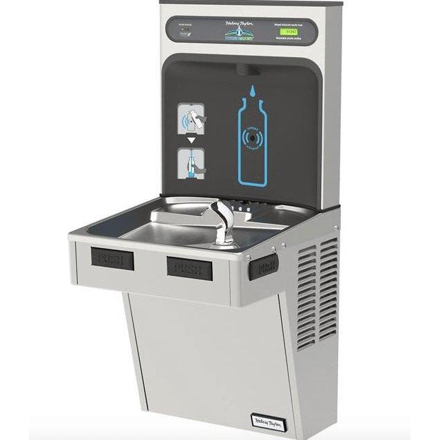 Halsey Taylor HTHB-HACG8SS-WF | Wall-mounted Bottle Filling Station | Filtered, High-efficiency chiller, HAC-style fountain, Stainless Steel color finish - BottleFillingStations.com