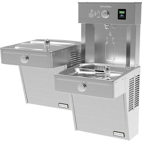 Halsey Taylor HTHBHVR8BL-NF | Wall-mounted Bi-level Bottle Filling Station | Filterless, Refrigerated, Vandal-resistant, Stainless Steel color finish - BottleFillingStations.com