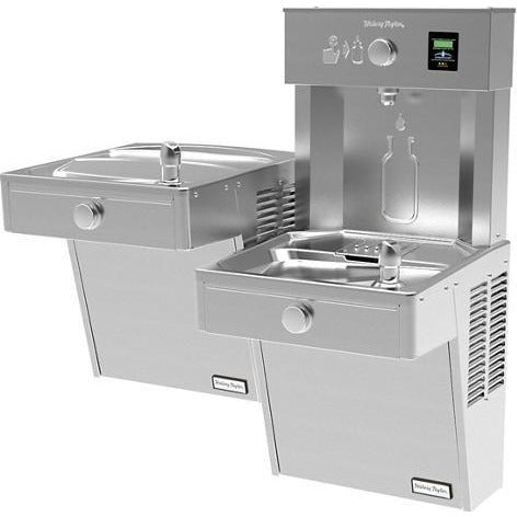 Halsey Taylor HTHBHVR8BL | Wall-mounted Bi-level Bottle Filling Station | Filtered, Refrigerated, Vandal-resistant, Stainless Steel color finish - BottleFillingStations.com