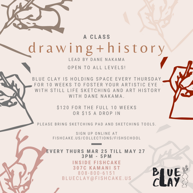 a class of drawing + art talk march 25 till may 27