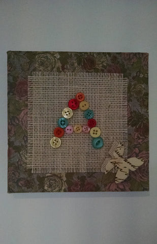 Vintage Button Initial Canvas