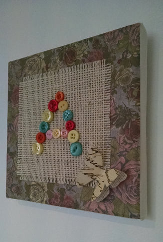 Vintage Button Letter Canvas 2