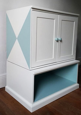 Custom Furniture Painting Geometric Cabinet After 2