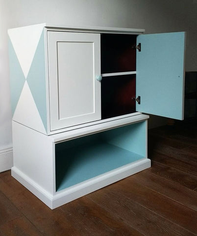 Custom Furniture Painting Geometric Cabinet After 3