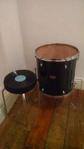 Upcycled Drum Table and Vinyl Record Stool