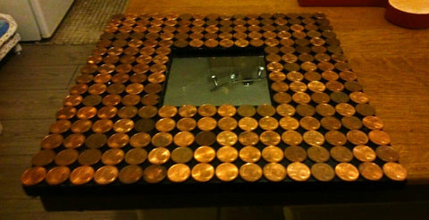 Upcycled Mirror - Pennies. Upcycled mirror covered in 220 pennies. This is a really funky and bespoke piece.