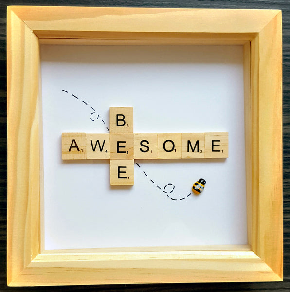 Bee Awesome Scrabble Art Tile  Frame 1