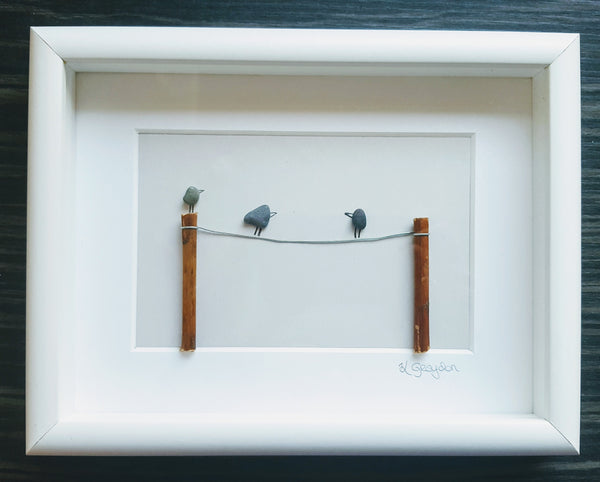 Birds on washing line medium custom Irish Pebble Art 1