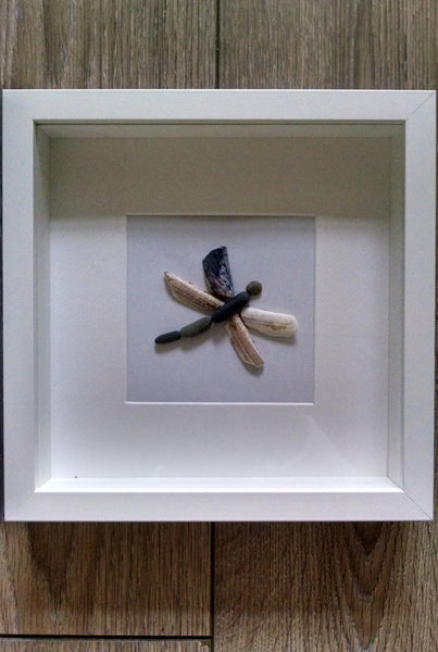 Pebble Art - Dragonfly. Beautiful natural Dragonfly made from shells and pebbles collected from Dublin beaches.