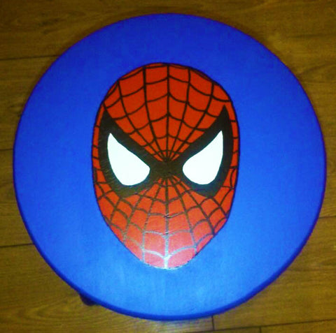 Spiderman Handpainted Stool. Finished with a matt varnish which protects the paint from grubby little fingers and gives a soft sheen wipeable finish.