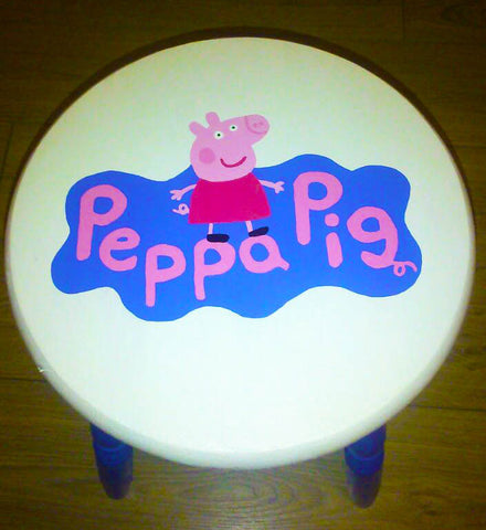 Peppa Pig Handpainted Stool. Painted in Annie Sloan Old White chalk paint and habitat paint for the logo. Finished with a matt varnish which protects the paint from grubby little fingers and gives a soft sheen wipeable finish.