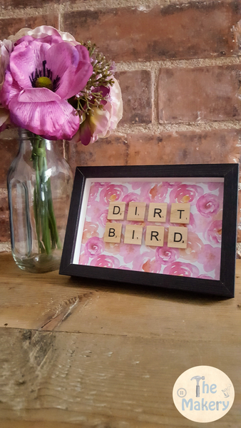 """Dirt Bird"" Dublin Slang Scrabble Frame"