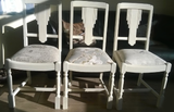 "Shabby Chic Chairs. Hand painted with Annie Sloan ""Old White"" chalk paint, then lightly distressed and finished with Annie Sloan clear wax. The high quality shabby chic fabrics complement these chairs beautifully, as well as being hard wearing and functional."