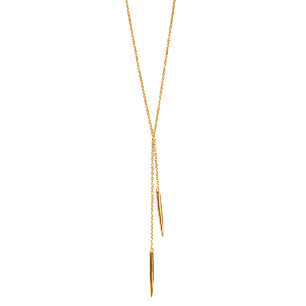 Double Moto Lariat (Brass) Necklace