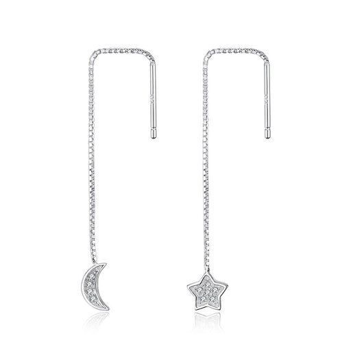 Star and Moon Earrings - Sterling Silver