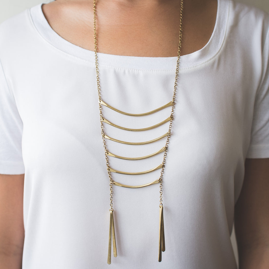 Layered Bar Necklace available in brass (gold colour) or Aluminum (silver colour)