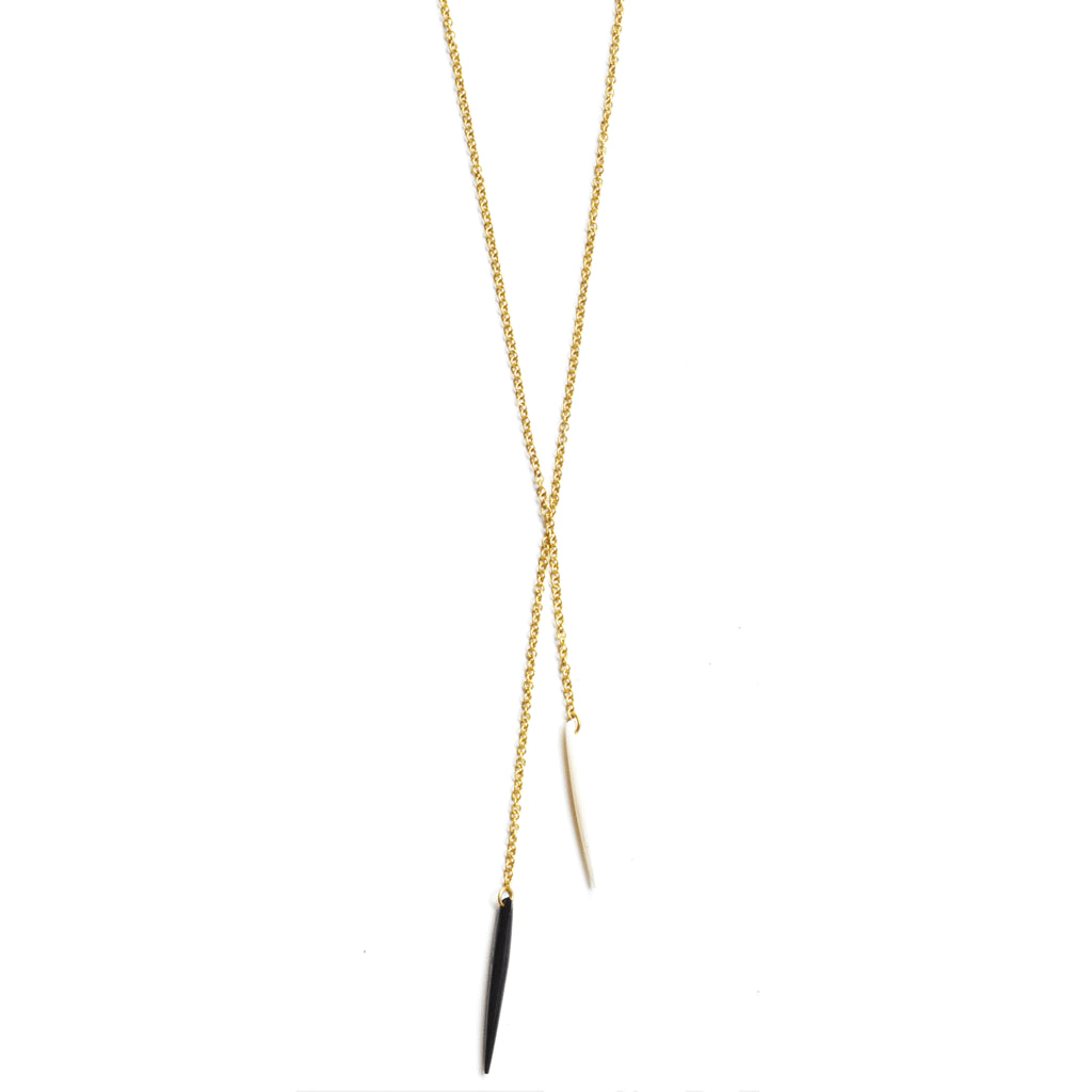 Double Moto Lariat (Black and White) Necklace