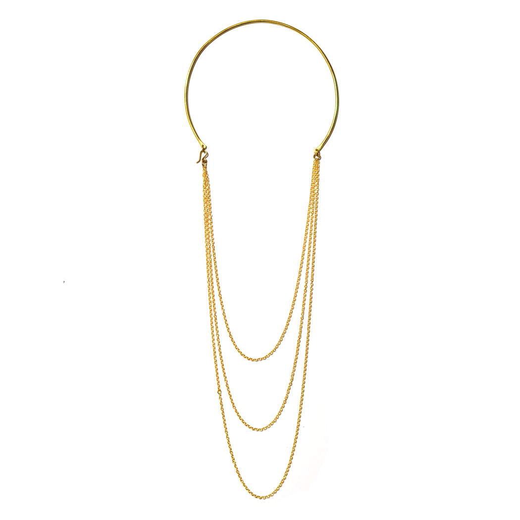 Triple Chain on Hoop Necklace