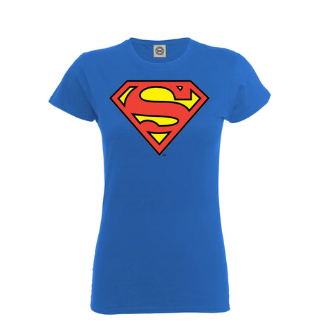 [W] Superman - Retro Logo - Ladies Fitted T-Shirt