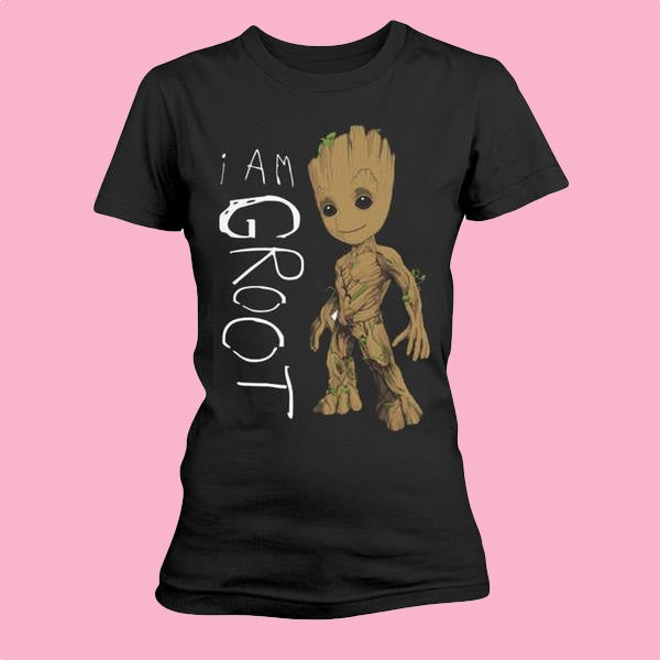 [W] Guardians of the Galaxy - I Am Groot Scribbles - Ladies Fitted T-Shirt