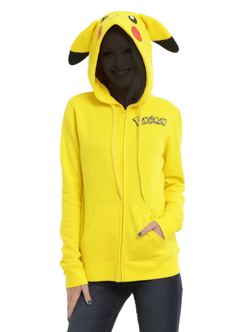 Pokemon - Pikachu Cosplay - Ladies Fitted Hooded Sweatshirt (Zipped)