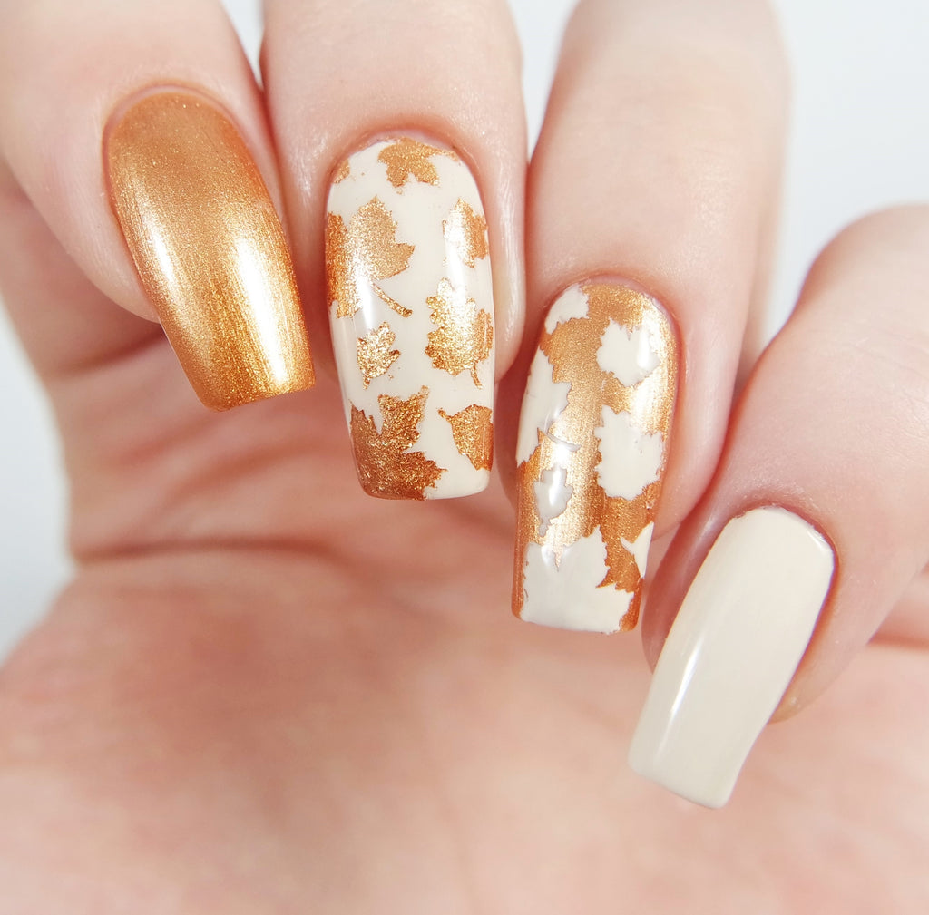 How to Create Reverse Accent Nails for Fall with Nail Art Stencils ...
