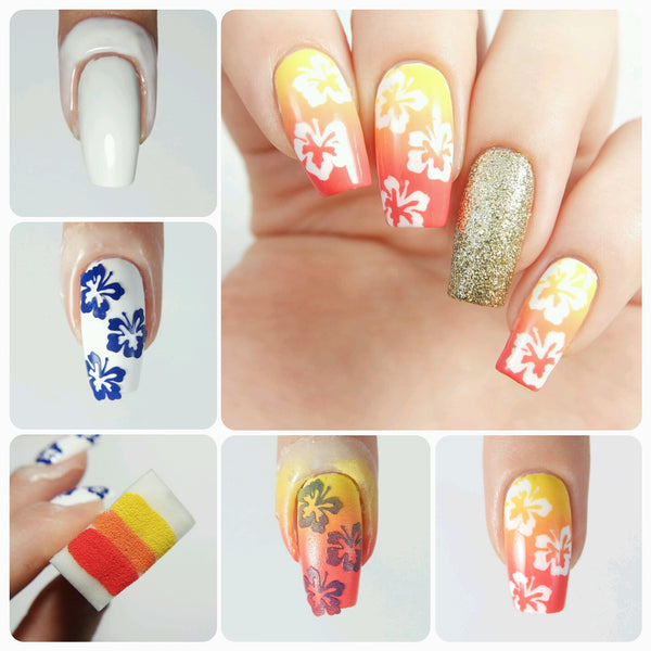 Hibiscus Flower Nail Stencils/ Nail Decals - Snail Vinyls  - 3