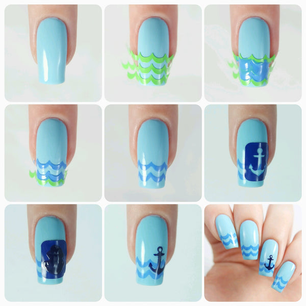 Anchor Nail Decal/ Nail Stencils - Snail Vinyls  - 2