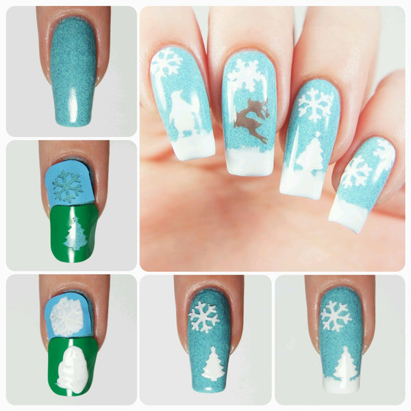Christmas Tree Nail Decal & Nail Stencil - Snail Vinyls  - 2
