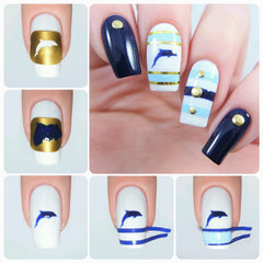 Dolphin Nail Decals/ Nail Stencils