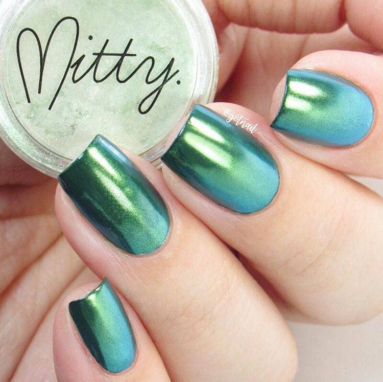 Mitty Chrome Nail Art Powder Green Menace