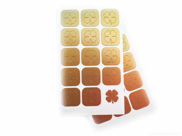 Four Leaf Clover Nail Decals - Snail Vinyls  - 5