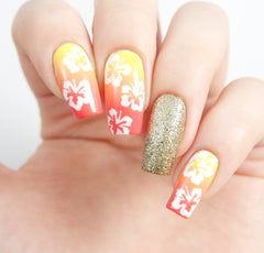 Hibiscus Flower Nail Stencils/ Nail Decals - Snail Vinyls  - 7