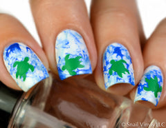 Hawaiian Sea Turtle Nail Decals/ Nail Stencils - Snail Vinyls  - 3