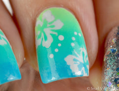 Hibiscus Flower Nail Stencils/ Nail Decals - Snail Vinyls  - 5